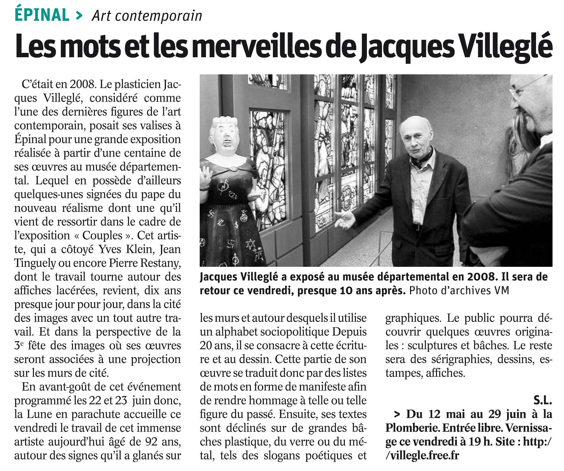 Article Vosges Matin du 9/05/2018